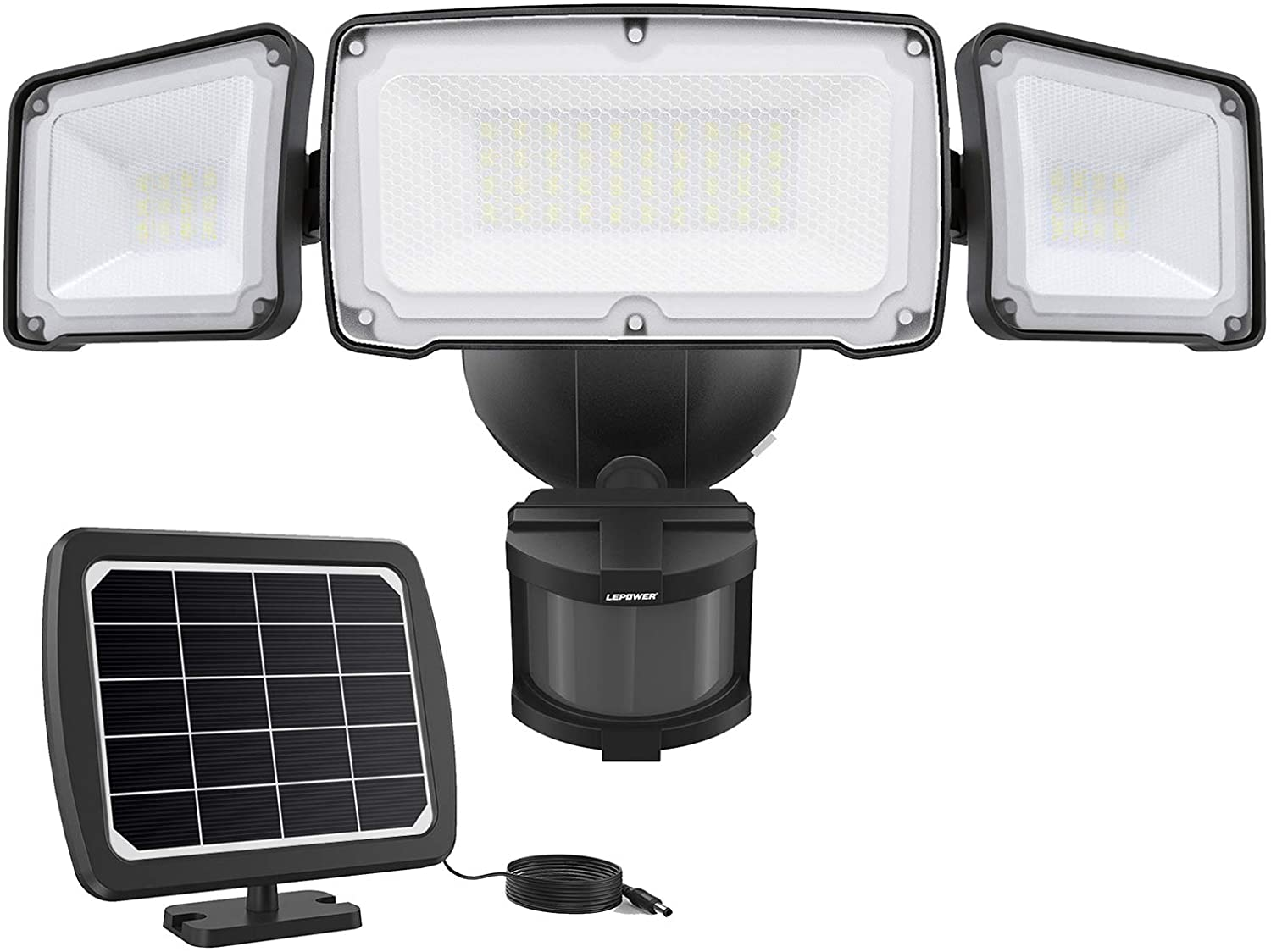 LEPOWER 1600LM LED Solar Security Lights Motion Outdoor