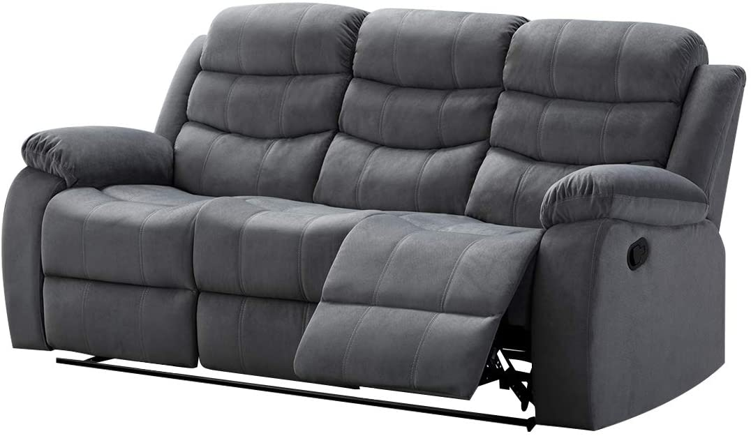 AC Pacific Upholstered, Sofa with, 2 Recliners, Grey