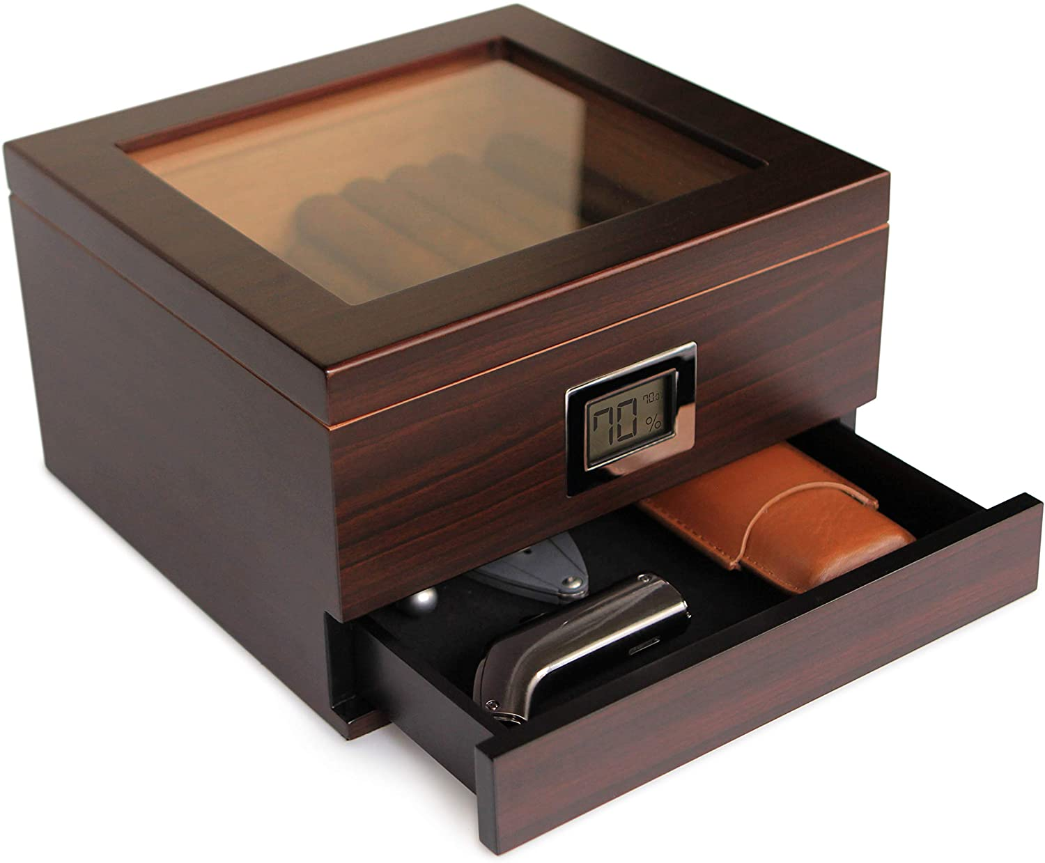 CASE ELEGANCE Glass Top Handcrafted Cedar Humidor