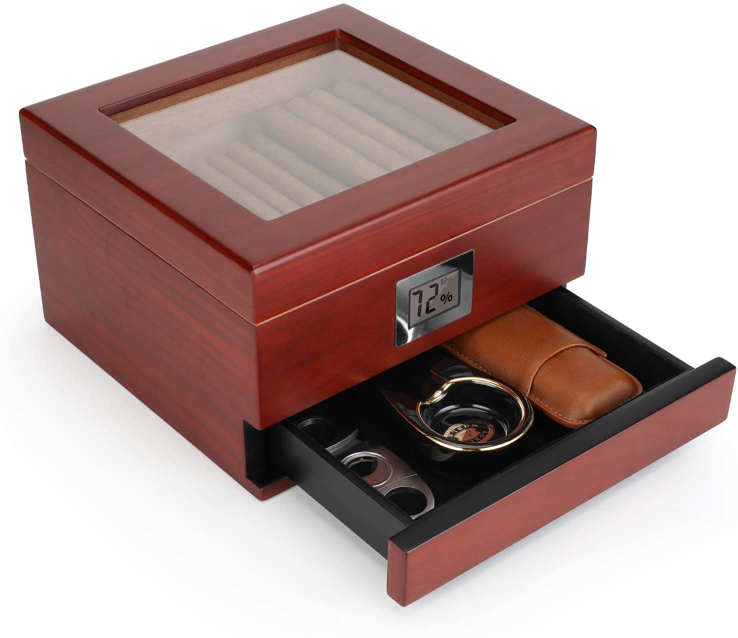 Flauno Glass Top Cigar Humidor, Handcrafted Cedar Humidor