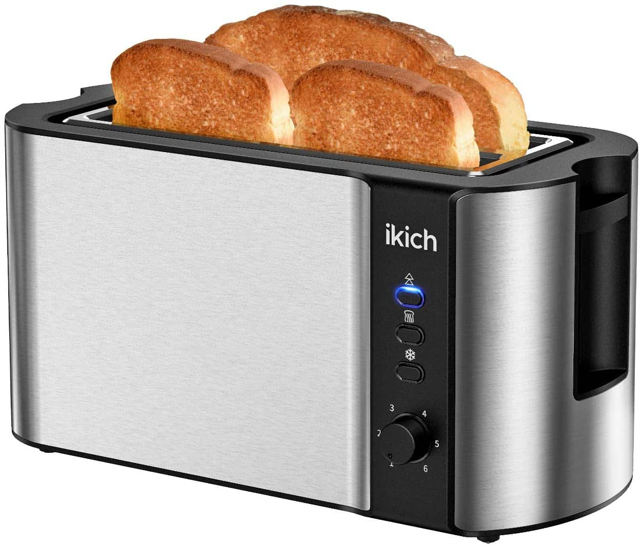 IKICH Toaster 4 Slice, Toaster 2 Long Slot Stainless Steel