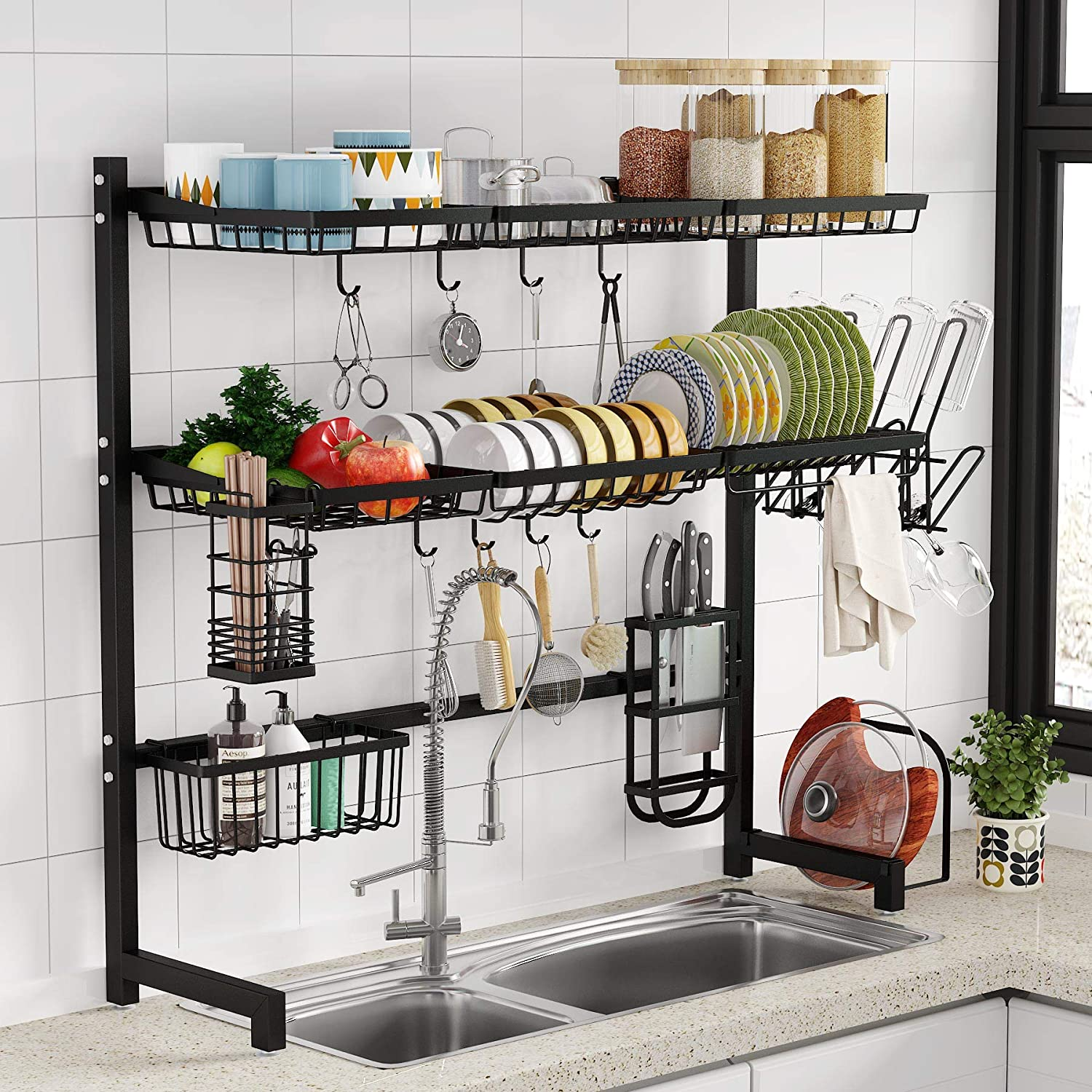 1Easylife 3 Tier Stainless Steel Large Kitchen Rack Dish Drainers