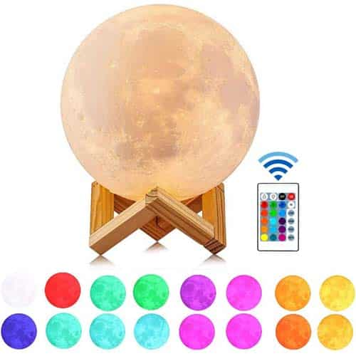 Guteauto 5.9 inch 16 Colors LED 3D Print Moon Light
