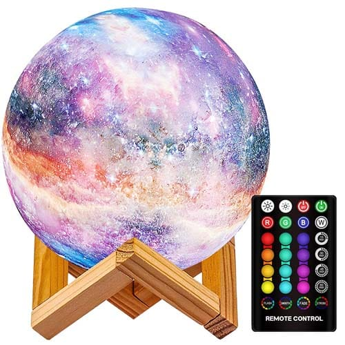 LOGROTATE Moon Lamp, 16 Colors LED Star Light 7.0 inch 3D Print Night Light Star